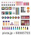 Illustration of sets of decorative cosmetics for makeup for women vector flat icon isolated 68985703