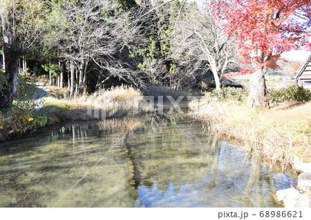 小川に移る紅葉の風景秋のおと連れ 68986621