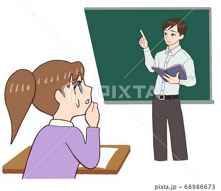 授業を受ける女の子と教える先生、内容がわからない 68986673