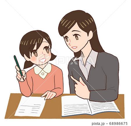勉強を教わる子供と先生、家庭教師 68986675