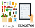 Vector image of a tablet with an online recipe and ingredients illustration in a flat design. 68986709