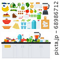 Image with assorted products for a healthy breakfast vector illustration in a flat design. 68986712