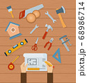Collection of woodworking tools vector illustration in a flat design. 68986714