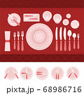 A set of cutlery and table etiquette vector illustration in a flat design. 68986716