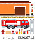Set of firefighters truck, fireman outfit and garage vector illustration in a flat design. 68986718