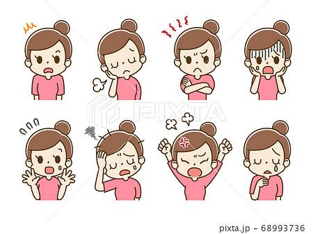 表情セット 若い女性 ママ(マイナスな気持ち) 68993736