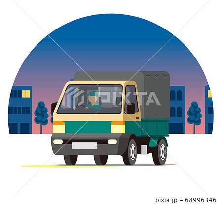夜の街を走る宅配便の軽トラック、トラック、幌付きトラック、集荷 68996346