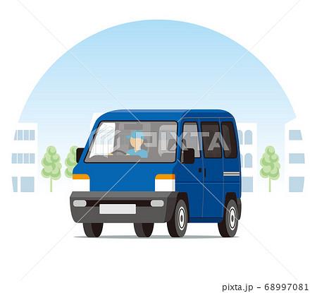 街を走る軽ワゴン、ワンボックス、運送、配送、運送 68997081