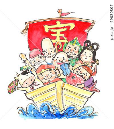 水彩で描いた宝船に乗った七福神のイラスト 69020307