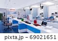 Modern emergency room with empty nurses station 3D 69021651