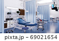 Empty hospital bed in emergency room interior 3D 69021654