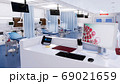 Empty nurses station in emergency room interior 3D 69021659