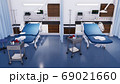 Empty hospital beds in modern emergency room 3D 69021660