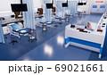 Empty emergency room in modern hospital 3D render 69021661