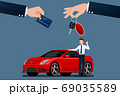 The car dealer's make an exchange, sale, rent between a car and the customer's credit card. Vector illustration design. 69035589