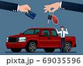 The car dealer's make an exchange, sale, rent between a car and the customer's credit card. Vector illustration design. 69035596