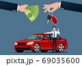 The car dealer's hand make an exchange between the car and the customer's money. Vector illustration design. 69035600
