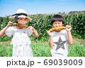 トウモロコシ畑で焼とうもろこしを食べる子供 69039009