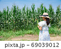 トウモロコシの収穫をする小学生 69039012