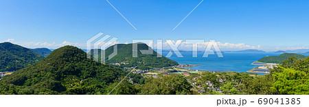 夏の五色台と瀬戸内海 パノラマ風景(香川県高松市) 69041385