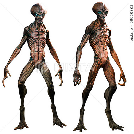 Aliens in standing poses 3D illustration 69050333