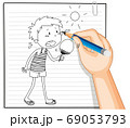 Hand writing of boy holding fan in summer weather 69053793
