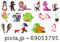 Set of fantasy cartoon characters and fantasy 69053795