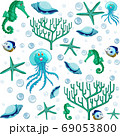 Set of sea animal and coral in green and blue 69053800