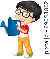 Nerdy boyl holding blue watering can 69053802