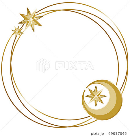 アンティークな月と星のシンプルフレーム 円形 ゴールド 69057046