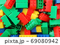 Plastic Building Blocks Toy Isolated On White Background 69080942
