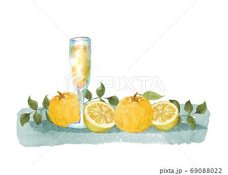 柚子とジュースの水彩イラスト 69088022