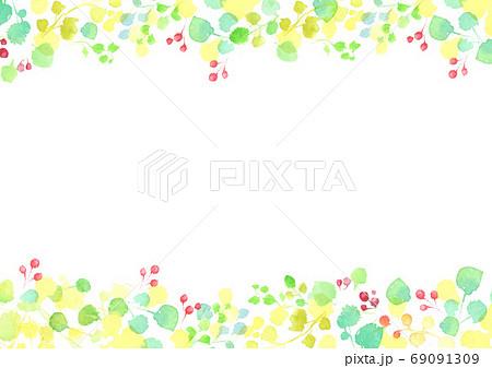 水彩で描いた葉っぱのフレーム 69091309