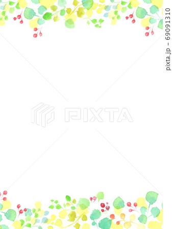 水彩で描いた葉っぱのフレーム 69091310