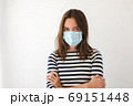 Woman in blue medical protective mask want to stop 69151448