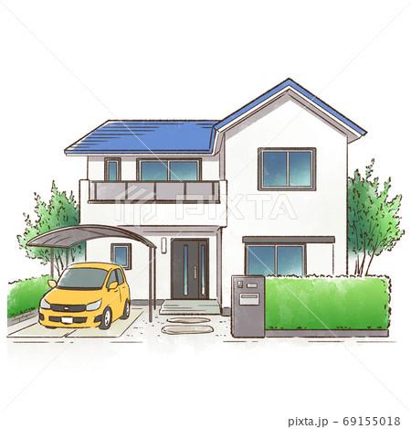 緑に囲まれた一軒家_青い屋根 69155018