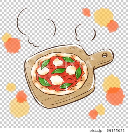 焼き立て熱々のピザ・マルゲリータ 69155021