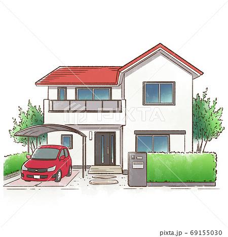 緑に囲まれた一軒家_赤い屋根 69155030