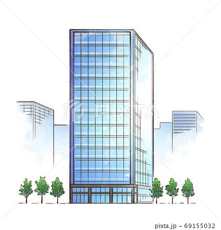 オフィスビル_ガラス張りの高層ビル 69155032