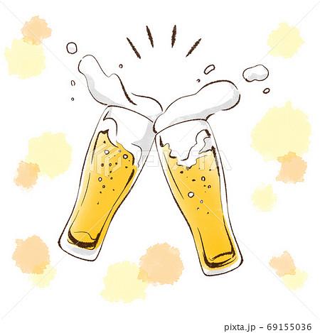グラスビールで乾杯 69155036
