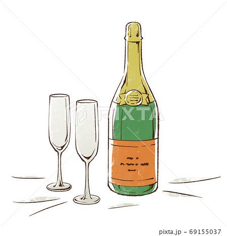 シャンパンとグラス 69155037