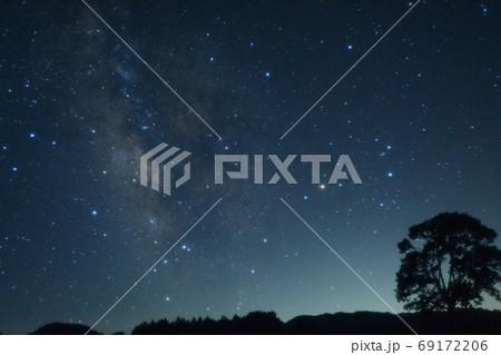 木曽開田高原星空 さそり座と天の川、木々 69172206