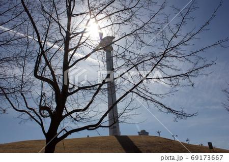 風車と太陽、そして駆け抜ける一筋の飛行機雲 69173667