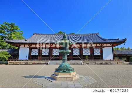 【奈良県】快晴下の法隆寺 大講堂 69174285