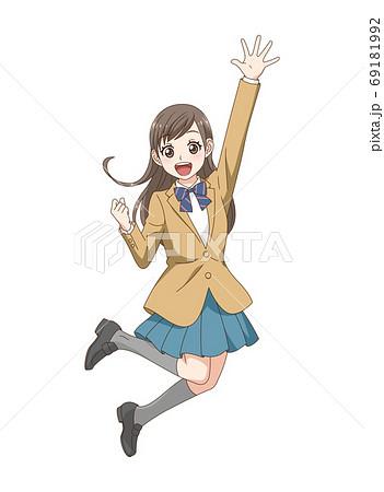 ジャンプする家族_女子中学生 69181992