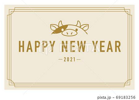 2021年丑年年賀状 シンプルデザイン 69183256