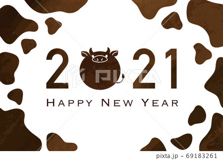 2021年丑年年賀状 牛柄シンプルデザイン 69183261