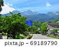 長野県松本市 夏の乗鞍岳と乗鞍観光センター 69189790