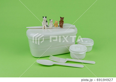お弁当箱の上で会話するミニ粘土猫家族 69194927
