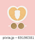 Breakfast for couple concept, two croissants on heart shaped dish with two cups of coffee on pink background from top view in flat color style 69196381